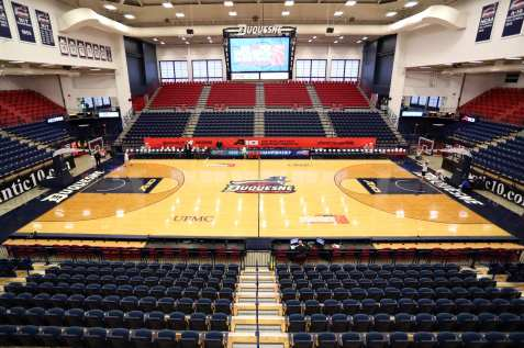 AJ Palumbo Center ready for the A10 Women's Basketball Championships March 5, 2019 -- David Hague/ PSN