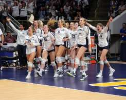 Penn State Volleyball celebrates winning September 22, 2019 -- David Hague/PSN
