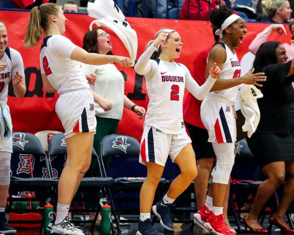 Duquesne Bench celebrates March 5, 2019 -- David Hague/ PSN