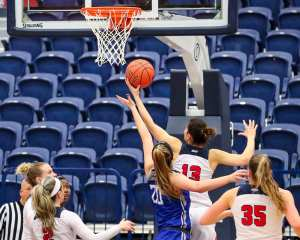 Julijana Vojinovic (13) with the rebound March 8, 2019 -- David Hague/ PSN