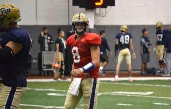 Pitt quarterback Kenny Pickett at practice on Sept. 11, 2018