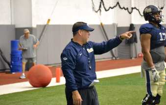 Pitt defensive line coach Charlie Partridge at practice on Sept. 18, 2018