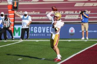 Oct. 10, 2020; Chestnut Hill, Massachusetts, USA; Boston College Eagles quarterback Phil Jurkovec (5) throws a pass during an ACC matchup between Pittsburgh and Boston College. The Eagles won the game 31-30 in overtime over the Panthers. Credit © Brian Foley for Foley-Photography.