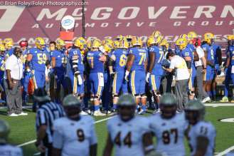 Oct. 10, 2020; Chestnut Hill, Massachusetts, USA; The Pittsburgh Panthers offense huddle before taking the field during an ACC matchup between Pittsburgh and Boston College. The Eagles won the game 31-30 in overtime over the Panthers. Credit © Brian Foley for Foley-Photography.
