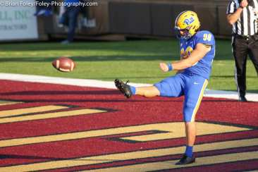 Oct. 10, 2020; Chestnut Hill, Massachusetts, USA; Pittsburgh Panthers punter Kirk Christodoulou (98) during an ACC matchup between Pittsburgh and Boston College. The Eagles won the game 31-30 in overtime over the Panthers. Credit © Brian Foley for Foley-Photography.