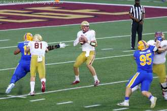 Oct. 10, 2020; Chestnut Hill, Massachusetts, USA; Boston College Eagles quarterback Phil Jurkovec (5) during an ACC matchup between Pittsburgh and Boston College. The Eagles won the game 31-30 in overtime over the Panthers. Credit © Brian Foley for Foley-Photography.
