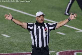 Oct. 10, 2020; Chestnut Hill, Massachusetts, USA; Referee Duanne Heydt calls a timeout during an ACC matchup between Pittsburgh and Boston College. The Eagles won the game 31-30 in overtime over the Panthers. Credit © Brian Foley for Foley-Photography.