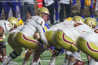 Oct. 10, 2020; Chestnut Hill, Massachusetts, USA; Boston College Eagles quarterback Phil Jurkovec (5) calls out the signals during an ACC matchup between Pittsburgh and Boston College. The Eagles won the game 31-30 in overtime over the Panthers. Credit © Brian Foley for Foley-Photography.