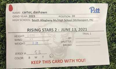 Dashawn Carter's 2021 Pitt football rising stars player card (PC: Dashawn Carter/Twitter)