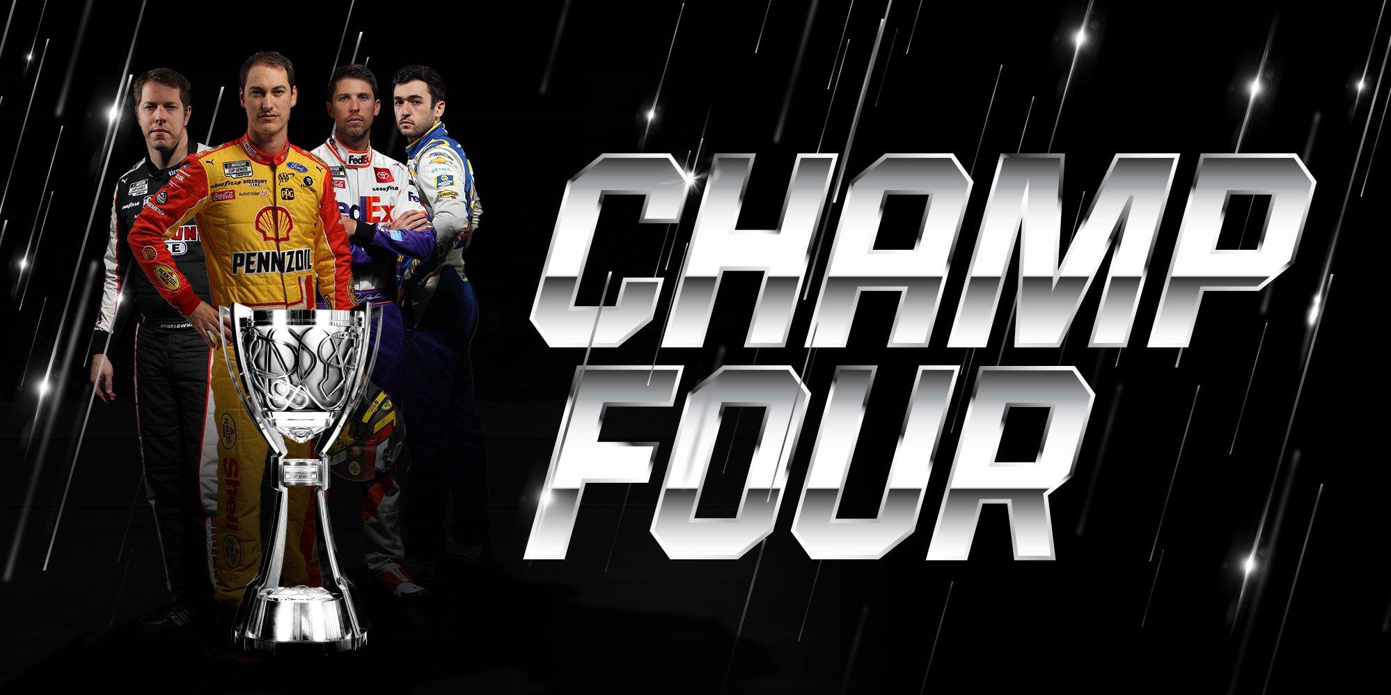 2, Brad Keselowski, 22, Joey Logano, Team Penske, 9, Chase Elliot, Hendrick Motorsports, 11, Denny Hamlin, Joe Gibbs Racing