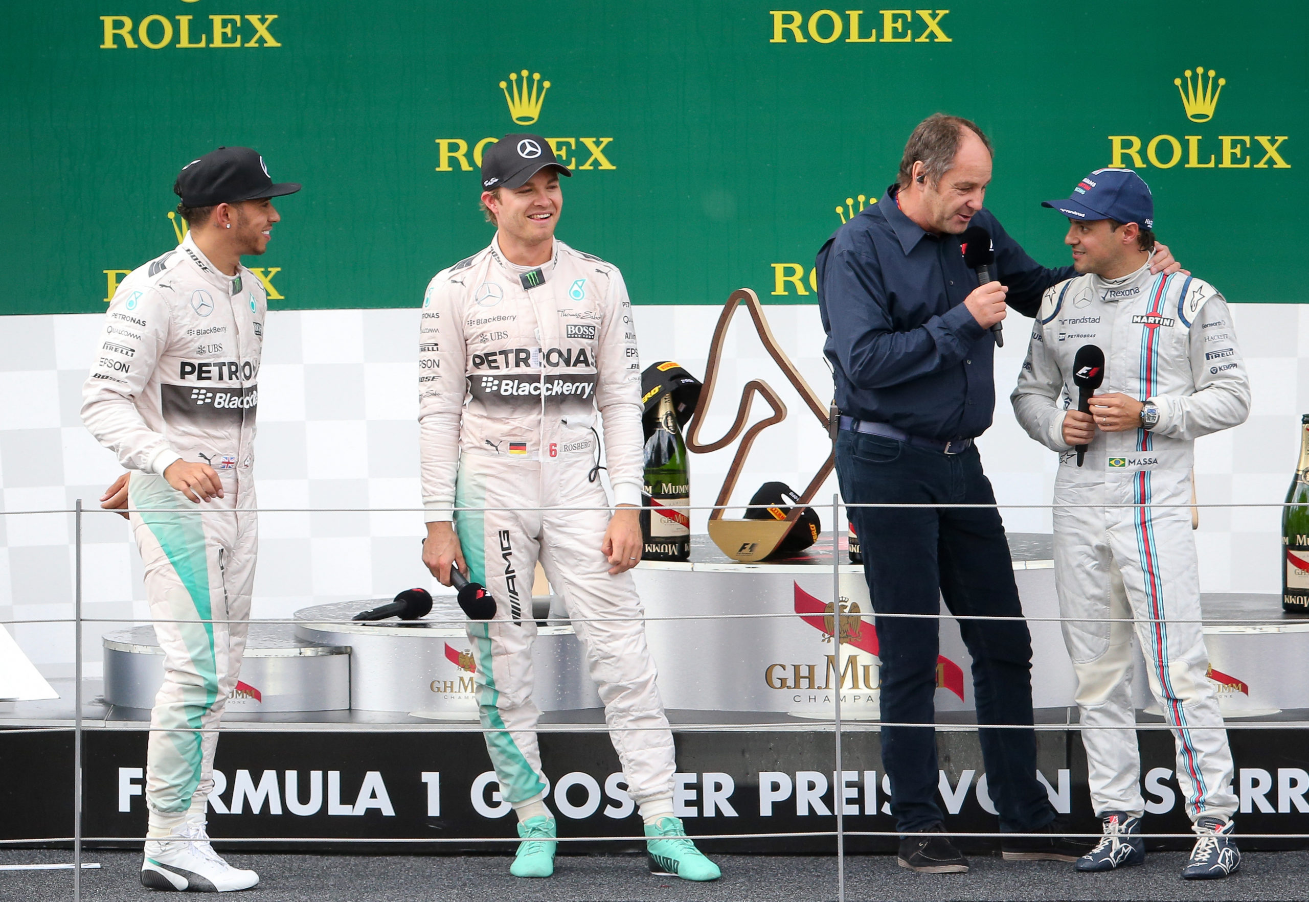 SPIELBERG,AUSTRIA,21.JUN.15 - MOTORSPORTS, FORMULA 1 - Grand Prix of Austria, Red Bull Ring. Image shows Lewis Hamilton (GBR/ Mercedes GP), Nico Rosberg (GER/ Mercedes GP), Gerhard Berger and Felipe Massa (BRA/ Williams F1). Photo: GEPA pictures/ Christian Walgram // GEPA pictures/Red Bull Content Pool // SI201506210659 // Usage for editorial use only //