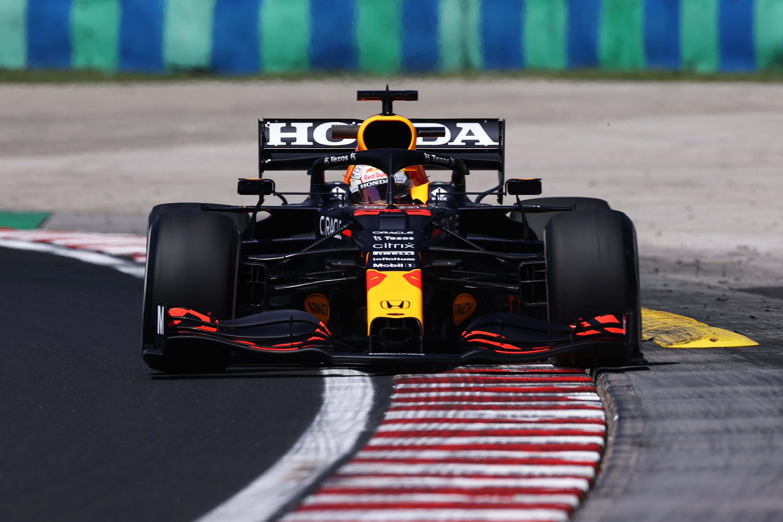BUDAPEST, HUNGARY - JULY 30: Max Verstappen of the Netherlands driving the (33) Red Bull Racing RB16B Honda during practice ahead of the F1 Grand Prix of Hungary at Hungaroring on July 30, 2021 in Budapest, Hungary. (Photo by Lars Baron/Getty Images) // Getty Images / Red Bull Content Pool  // SI202107300154 // Usage for editorial use only //