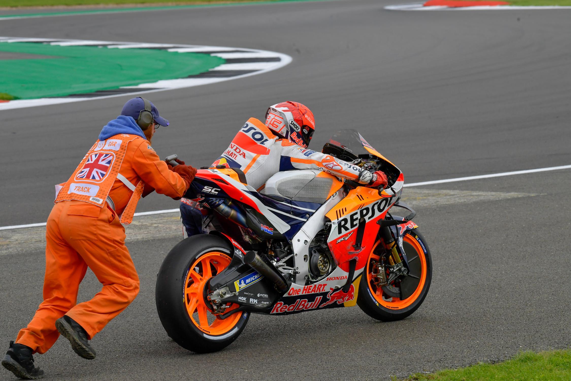 Marc Márquez, Repsol Honda Team, Monster Energy British Grand Prix, caída