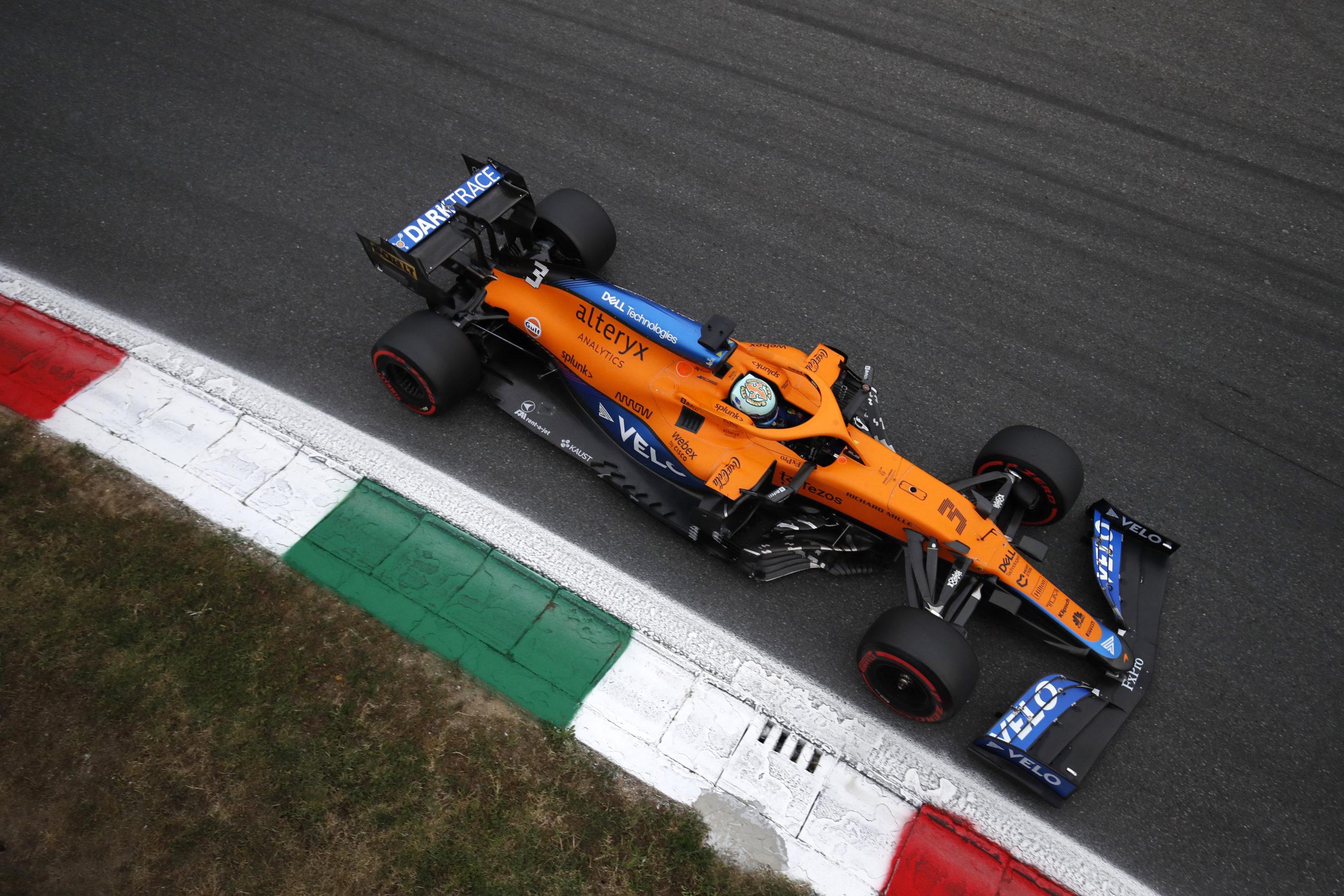 Daniel Ricciardo, McLaren MCL35M from above