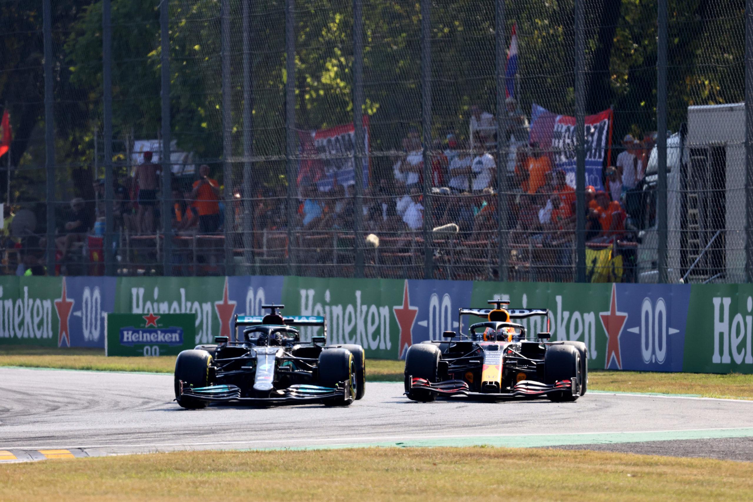 Lewis Hamilton and Max Verstappen, Mercedes, 2021 Italian Grand Prix, Sunday - Steve Etherington