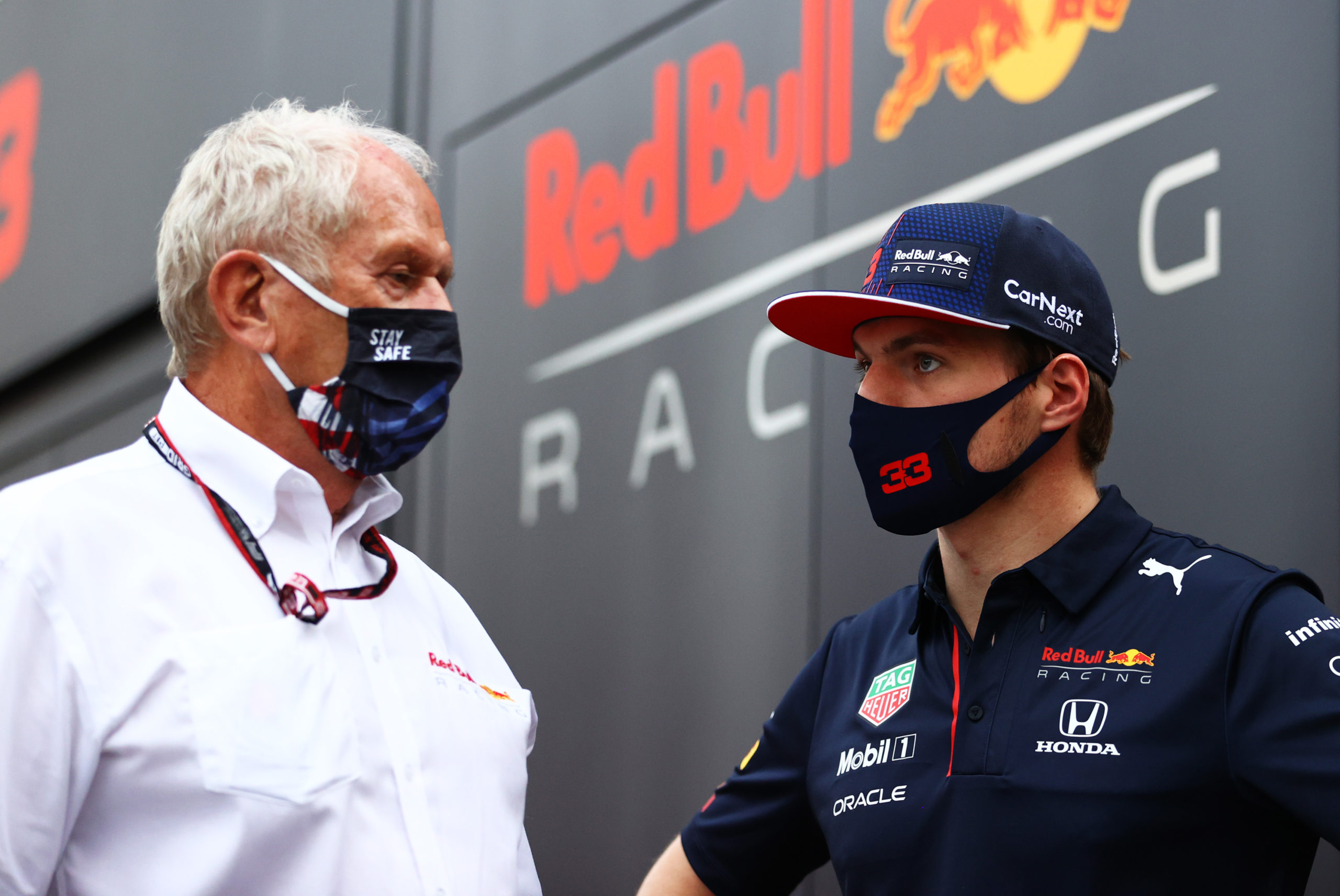 MONZA, ITALY - SEPTEMBER 10: Max Verstappen of Netherlands and Red Bull Racing talks with Red Bull Racing Team Consultant Dr Helmut Marko in the Paddock after qualifying ahead of the F1 Grand Prix of Italy at Autodromo di Monza on September 10, 2021 in Monza, Italy. (Photo by Bryn Lennon/Getty Images) // Getty Images / Red Bull Content Pool  // SI202109100644 // Usage for editorial use only //