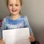 """Emma JI MsMcGuinness """"I am writing my news about what I did over the Easter break"""""""