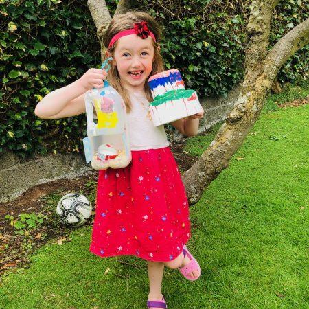 Rebecca JI MsMcGuinness I made a bird house out of a milk carton, and I painted a cake for my dads birthday!