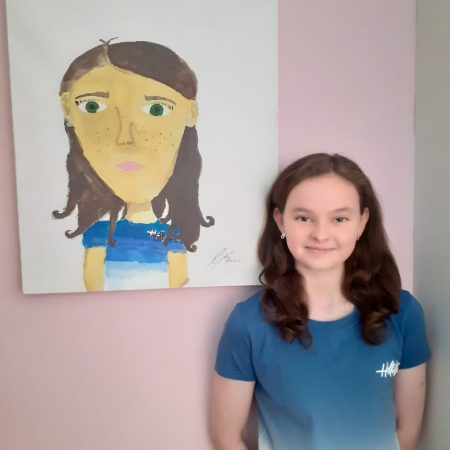 """Sally 5th Ms Smith """" painted a self portrait"""""""