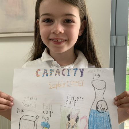 """Sophie Sr. Inf Ms. Godson """"Capacity poster by Sophie - she loved this weeks work on capacity"""""""