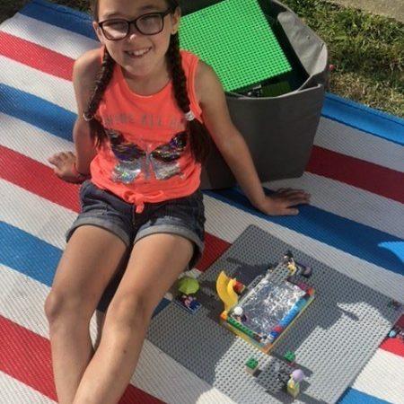 """Hannah 1st Ms Fitzmaurice """"Hannah having fun in the sun after making a Lego swimming pool"""""""