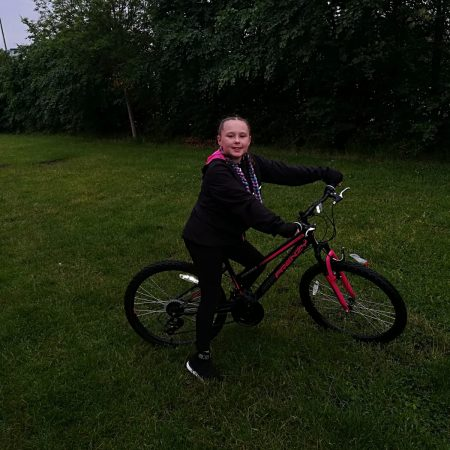 Lily 3rd Ms Buckly Cycling for Sports Day and Fundraising for Laura Lynn