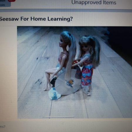 Barbie being helped in wheelchair