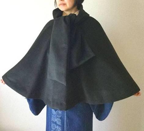 着物上に着られるマント withデニム着物編集部