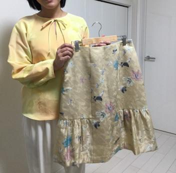 着物リメイクでスカート完成