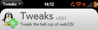 The Tweaks control panel app