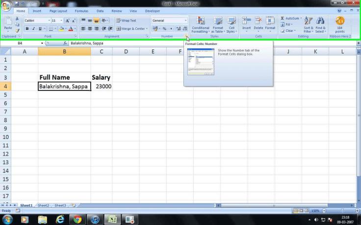 MS Excel Format Cells dialogue launcher