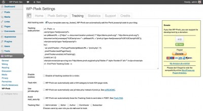 WP-Piwik tracking settings