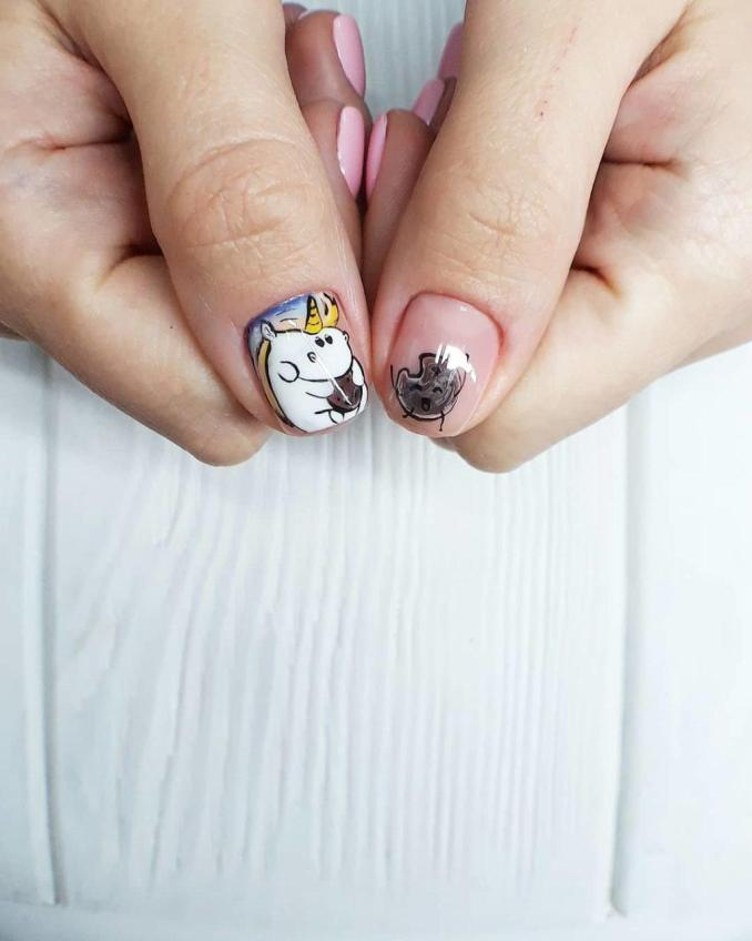 Bright nail art with a unicorn: stylish ideas for manicure in the photo and how to do it 58