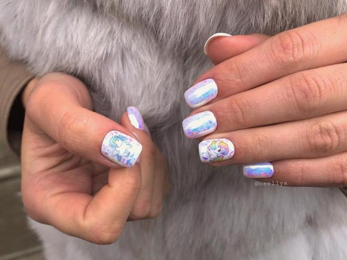 Bright nail art with a unicorn: stylish ideas for manicure in the photo and how to do it 62