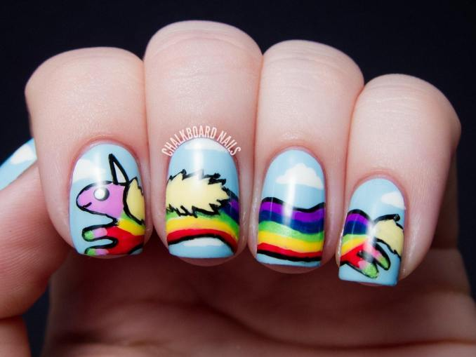 Bright nail art with a unicorn: stylish ideas for manicure in the photo and how to do it 10