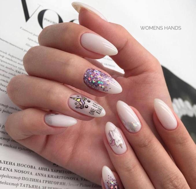 Bright nail art with a unicorn: stylish ideas for manicure in the photo and how to do it 47