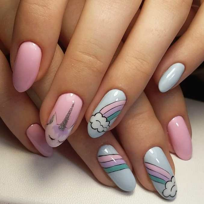 Bright nail art with a unicorn: stylish ideas for manicure in the photo and how to do it 100