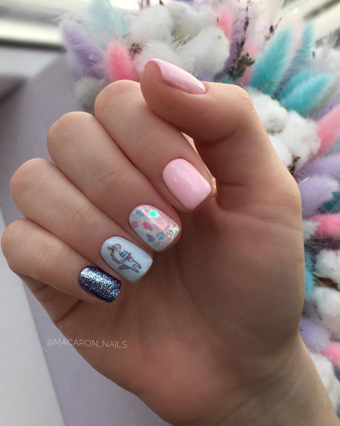 Bright nail art with a unicorn: stylish ideas for manicure in the photo and how to do it 20