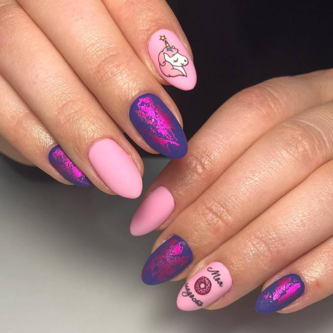Bright nail art with a unicorn: stylish ideas for manicure in the photo and how to do it 50