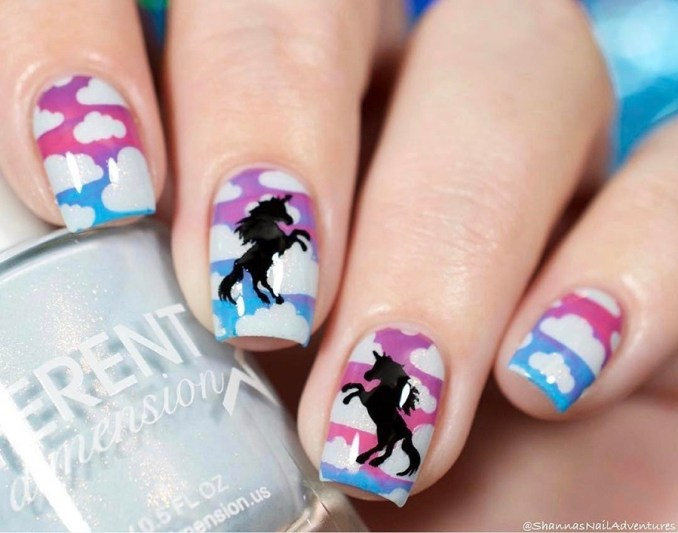 Bright nail art with a unicorn: stylish ideas for manicure in the photo and how to do it 87