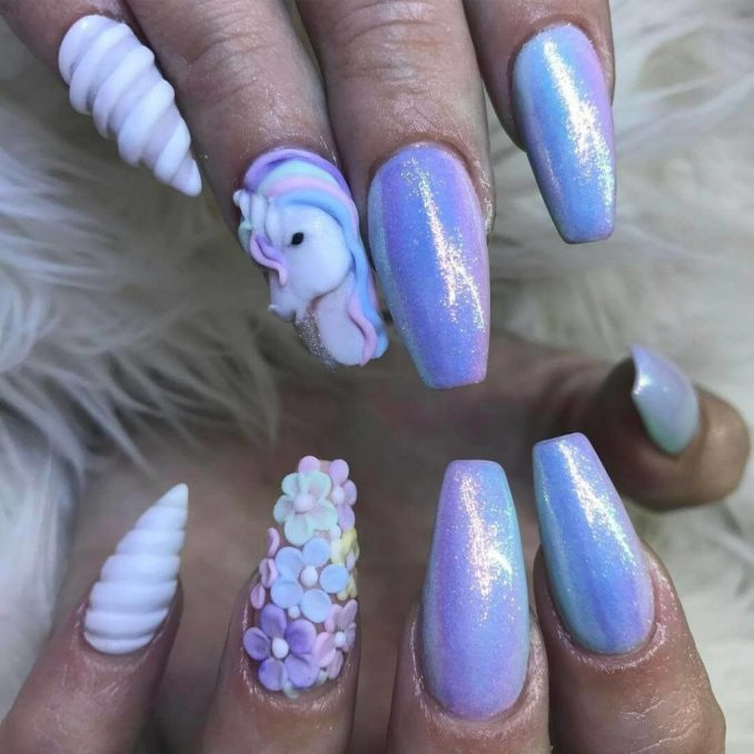 Bright nail art with a unicorn: stylish ideas for manicure in the photo and how to do it 7