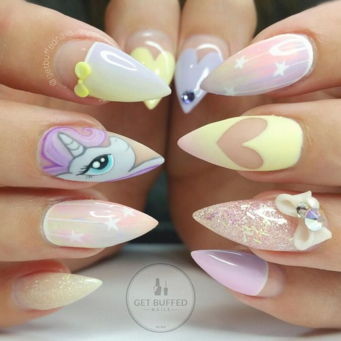 Bright nail art with a unicorn: stylish ideas for manicure in the photo and how to do it 28
