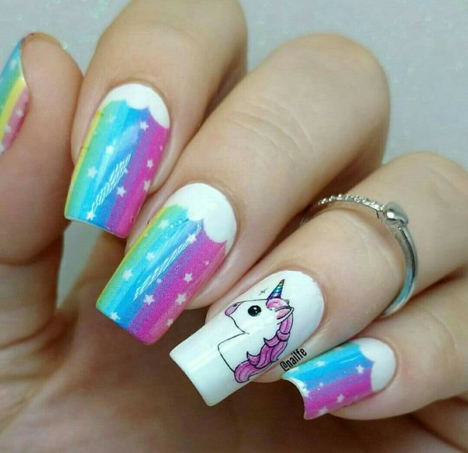 Bright nail art with a unicorn: stylish ideas for manicure in the photo and how to do it 55