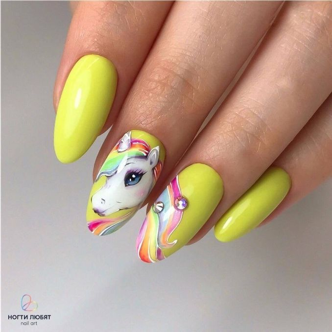 Bright nail art with a unicorn: stylish ideas for manicure in the photo and how to do it 33