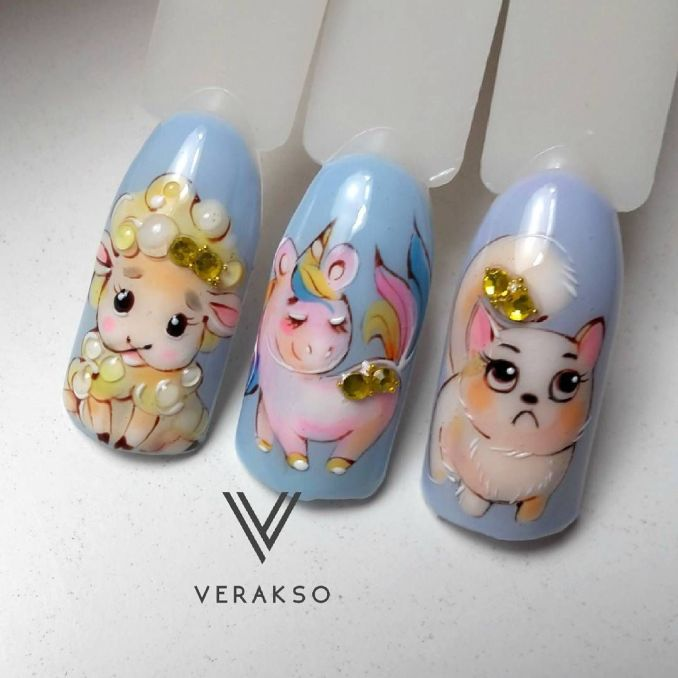Bright nail art with a unicorn: stylish ideas for manicure in the photo and how to do it 21