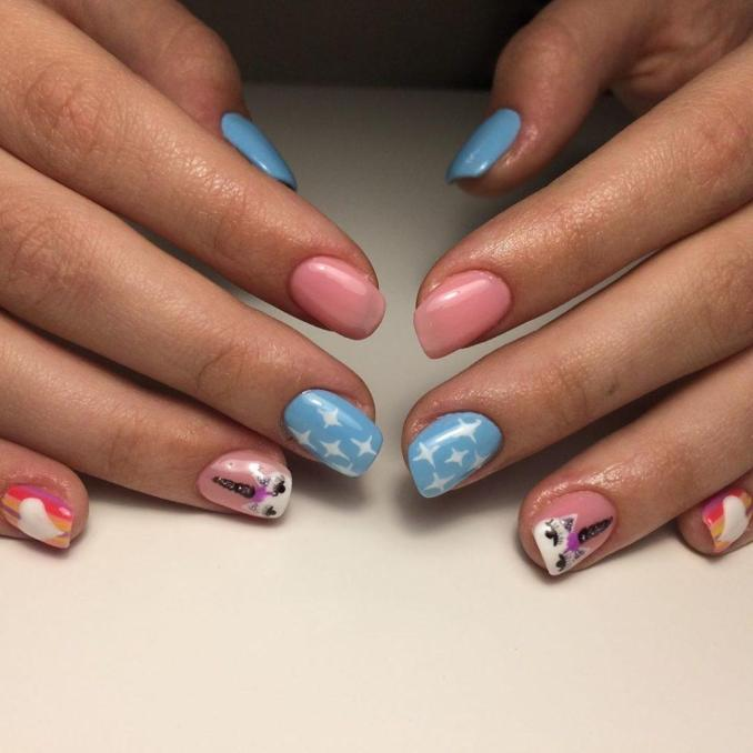 Bright nail art with a unicorn: stylish ideas for manicure in the photo and how to do it 72