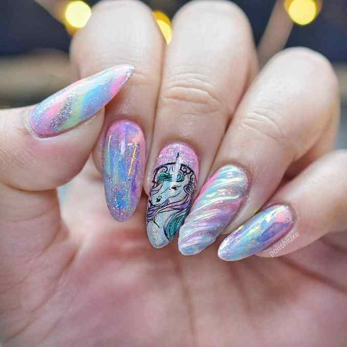 Bright nail art with a unicorn: stylish ideas for manicure in the photo and how to do it 52