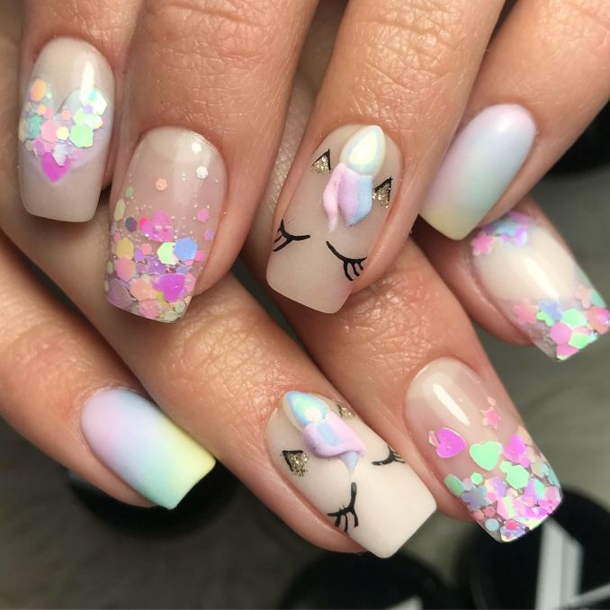 Bright nail art with a unicorn: stylish ideas for manicure in the photo and how to do it 22
