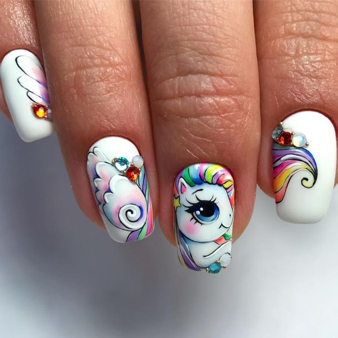 Bright nail art with a unicorn: stylish ideas for manicure in the photo and how to do it 23