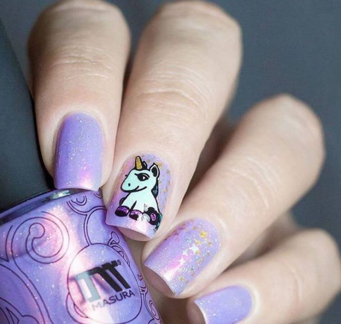 Bright nail art with a unicorn: stylish ideas for manicure in the photo and how to do it 104
